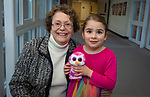 BETHLEHEM,  CT-021419JS15- Lillian Taranovich of Woodbury with her grand-daughter Ells Taranovich, 6, at the third annual Valentines Day grandparents dinner at Bethlehem Elementary School. The event was hosted by the Bethlehem Elementary School PTO. <br />  Jim Shannon Republican American