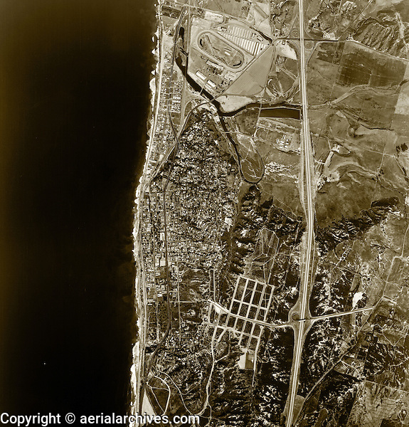 historical aerial photograph Del Mar, San Diego county, California, 1966