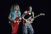 Eddie Van Halen and Smmy Hagar of Van Halen perform at the Monsters Of Rock Festival at Giants Stadium in New Jersey.Photo Credit: Eddie Malluk/AtlasIcons.com..Photo Credit: Eddie Malluk/AtlasIcons.com