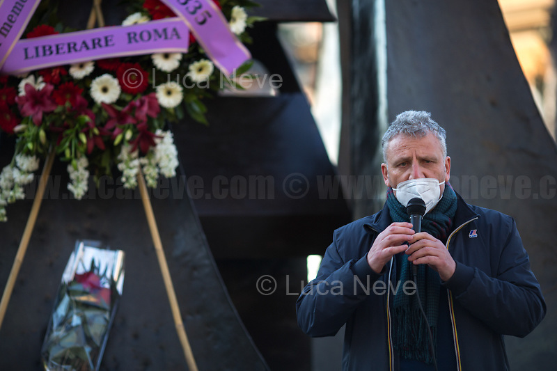 Massimiliano Smeriglio MEP (Politician).<br /> <br /> Rome, Italy. 24th Mar, 2021. Today, Citizens of Rome, Antifascists, various organizations, Institutions and the President of the Italian Republic, Sergio Mattarella, pay tribute to the victims of the Fosse Ardeatine massacre in which, 77 years ago, on the 24th March 1944, 335 people were assassinated by the nazi-fascist occupation troupes in Rome. It was one of the most atrocious massacre perpetrated during World War II for retaliation against the Resistance and the Civilians.    <br /> <br /> Footnotes & Links:<br /> (Source, Treccani.it ITA) http://bit.do/fPZXL <br /> (Source, Jewishvirtuallibrary.org ENG) http://bit.do/fPZXu<br /> (Source, Wikipedia.org ENG) http://bit.do/fPZXW <br /> Today's Events: https://www.facebook.com/events/4526526500707783/ & https://www.facebook.com/events/1096587897511737/