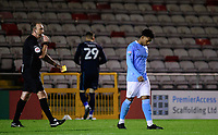Manchester City U21's Keyendrah Simmonds reacts after his penalty, in the penalty shoot out, was saved by Lincoln City's Ethan Ross<br /> <br /> Photographer Chris Vaughan/CameraSport<br /> <br /> EFL Papa John's Trophy - Northern Section - Group E - Lincoln City v Manchester City U21 - Tuesday 17th November 2020 - LNER Stadium - Lincoln<br />  <br /> World Copyright © 2020 CameraSport. All rights reserved. 43 Linden Ave. Countesthorpe. Leicester. England. LE8 5PG - Tel: +44 (0) 116 277 4147 - admin@camerasport.com - www.camerasport.com