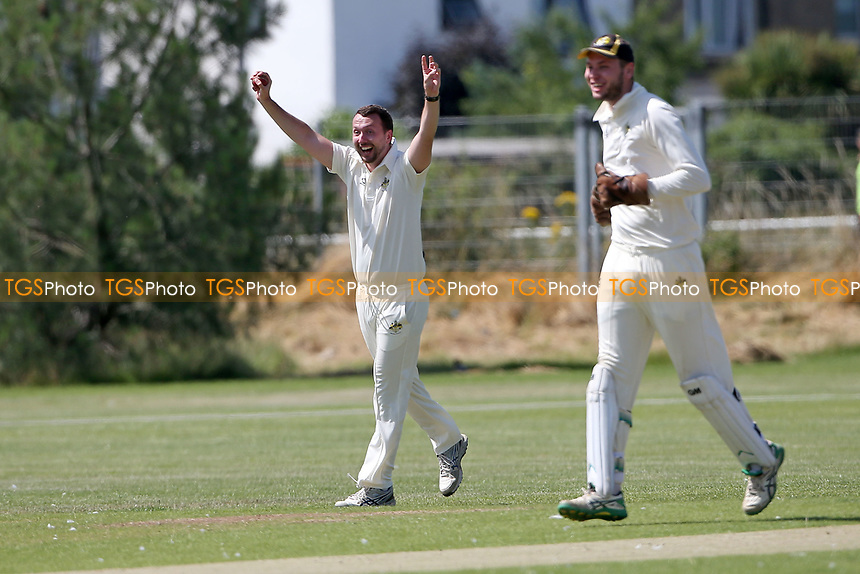 Gidea Park players celebrate taking the wicket of Anujan Thiru during Oakfield Parkonians CC (batting) vs Gidea Park and Romford CC, Hamro Foundation Essex League Cricket at Oakfield Playing Fields on 17th July 2021