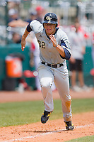 Derek Dietrich #32 of the Georgia Tech Yellow Jackets hustles down the third base line against the North Carolina State Wolfpack at the 2010 ACC Baseball Tournament at NewBridge Bank Park May 29, 2010, in Greensboro, North Carolina.  The Yellow Jackets defeated the Wolfpack 17-5.  Photo by Brian Westerholt / Four Seam Images