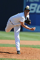 Asheville Tourists Brad McAtee #22 delivers a pitch during a game against  the Lexington Legends at McCormick Field in Asheville,  North Carolina;  April 17, 2011. Lexington defeated Aheville 18-9.  Photo By Tony Farlow/Four Seam Images