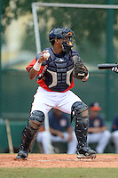 Atlanta Braves catcher Carlos Martinez (9) during an Instructional League game against the Houston Astros on September 22, 2014 at the ESPN Wide World of Sports Complex in Kissimmee, Florida.  (Mike Janes/Four Seam Images)