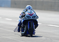 Jul, 9, 2011; Joliet, IL, USA: NHRA pro stock motorcycle rider Hector Arana Jr during qualifying for the Route 66 Nationals at Route 66 Raceway. Mandatory Credit: Mark J. Rebilas-