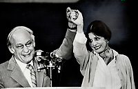 1981 FILE PHOTO - ARCHIVES -<br /> <br /> Moment of triumph: Rene Levesque and his wife Corrine raise their arms in triumph after the 1981 provincial election in Quebec. Despite defeat in the referendum on independence a year earlier, Levesque rallied his Parti Quebecois to a resounding triumph over the Liberals of Claude Ryan.<br /> 1981<br /> <br /> PHOTO : Boris Spremo - Toronto Star Archives - AQP