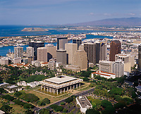 Hawaii State Capitol & Downtown Honolulu, Aerial View, Oahu, Hawaii, USA.