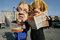 April 13 2005, Montreal (Qc) CANADA<br /> <br /> Parody of Quebec Premier Jean Charest and of Monique Jerome-Forget<br /> Charest Liberal is at it's lowest in the polls <br /> .Charest was elected for the first time  April 14 2003, he is seeking a 3rd term in the  Quebec provincial election which will be held Dec 14, 2008.