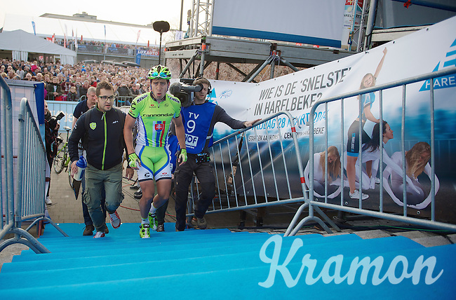 race winner Peter Sagan (SVK/Cannondale) escorted to the podium<br /> <br /> 57th E3 Harelbeke 2014