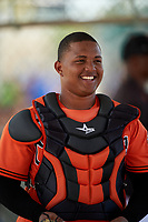 Baltimore Orioles catcher Yermin Mercedes (66) during a minor league Spring Training game against the Minnesota Twins on March 16, 2016 at CenturyLink Sports Complex in Fort Myers, Florida.  (Mike Janes/Four Seam Images)