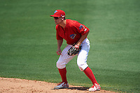 Clearwater Threshers second baseman Scott Kingery (31) during a game against the Charlotte Stone Crabs on April 13, 2016 at Bright House Field in Clearwater, Florida.  Charlotte defeated Clearwater 1-0.  (Mike Janes/Four Seam Images)