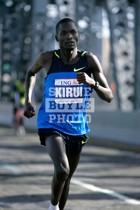 Abel Kirui (KEN) during the 2008 ING New York City Marathon on the Madison Avenue Bridge connecting the Bronx to Manhattan on November 2, 2008 in New York City, New York.  The racers enter Manhattan for the final time as they approach mile 21 on the course.  Gomes Dos Santos (BRA) won the race with a time of 2:0843.