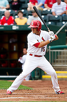 Eric Duncan (15) of the Springfield Cardinals at bat during a game against the Arkansas Travelers on May 10, 2011 at Hammons Field in Springfield, Missouri.  Photo By David Welker/Four Seam Images.