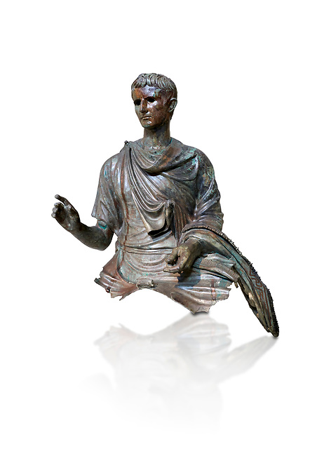 Roman bronze statue fragment of emperor Augustus, Circa 12-10 BC,  found in the Agean sea of  the Island of Euboea, Athens National Archaeological Museum. cat no X 23322. Against white.<br /> <br /> The emperor Augustus is depicted in mature age mounting a horse. He wears a tunica with verivle purple stripes (clavus purpurea) fringed with a meander pattern. Icongraphic features of bthe Prima Porta and Actuim type of statue are incorporated in this brnze statue. The right hand is raised in a gesture of offical greeting and the left hand held the horses reigns. A ring on the finger gears has engraved the symbol of Pontifles Maximus assumed by Augustus in 12 BC