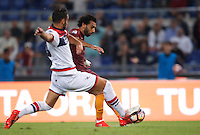 Calcio, Serie A: Roma, stadio Olimpico, 21 settembre 2016.<br /> Roma's Mohamed Salah, right, scores during the Serie A soccer match between Roma and Crotone at Rome's Olympic stadium, 21 September 2016. Roma won 4-0.<br /> UPDATE IMAGES PRESS/Isabella Bonotto