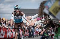 Romain Bardet (FRA/AG2R La Mondiale)  pre race reaching out for high fives. <br /> <br /> <br /> 83th Flèche Wallonne 2019 (1.UWT)<br /> 1 Day Race: Ans – Huy 195km<br /> <br /> ©kramon