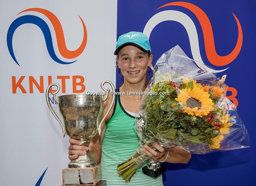 Hilversum, Netherlands, August 13, 2016, National Junior Championships, NJK, Prizegiving, winner girl's single 12 years : Anouk Koevermans<br /> Photo: Tennisimages/Henk Koster
