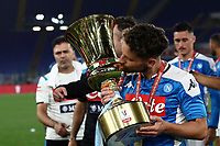 Napoli's Dries Mertens kisses the trophy at the end of the Italian Cup football final match between Napoli and Juventus at Rome's Olympic stadium, with closed doors, June 17, 2020. Napoli won 4-2 at the end of a penalty shootout following a scoreless draw.<br /> UPDATE IMAGES PRESS/Isabella Bonotto