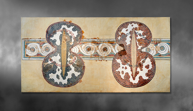 Minoan wall art fresco of a 'figure of eight' shield from Knossos Palace, 1450-1300 BC. Heraklion Archaeological Museum.  Grey Background. <br /> <br /> <br /> The Final Palatial Period Minoan fresco is from the Grand Staircase of the Palace of Knossos and is a Trompe-l'œil  of minoan warriors shields covered with ox hide.