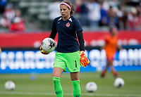 CARSON, CA - FEBRUARY 9: GK Stephanie Labbe #1 of Canada warming up during a game between Canada and USWNT at Dignity Health Sports Park on February 9, 2020 in Carson, California.