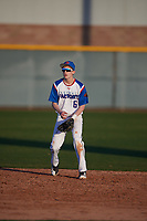 Evan Arenz (6) of Mandan High School in Mandan, North Dakota during the Baseball Factory All-America Pre-Season Tournament, powered by Under Armour, on January 13, 2018 at Sloan Park Complex in Mesa, Arizona.  (Mike Janes/Four Seam Images)