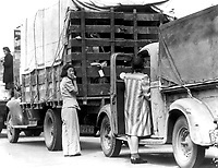 Trucks were jammed high with suitcases, blankets, household equipment, as well as children, all bearing registration tags, as the last Redondo Beach residents of Japanese ancestry were moved to assembly center at  Arcadia.  April 5, 1942.   Clem Alberts. (WRA)<br /> NARA FILE #:  210-G-2B-29<br /> WAR & CONFLICT #:  781