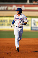 Tennessee Smokies third baseman Chase Strumpf (19) circles the bases following a home run against the Mississippi Braves at Smokies Stadium on July 15, 2021, in Kodak, Tennessee. (Danny Parker/Four Seam Images)
