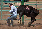 Tod Radelfinger competes in the double mugging event at the Minden Ranch Rodeo in Gardnerville, Nev., on Sunday, July 22, 2012..Photo by Cathleen Allison