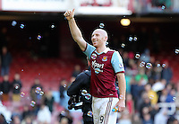 Pictured: James Collins of West Ham thanks home supporters. 01 February 2014<br /> Re: Barclay's Premier League, West Ham United v Swansea City FC at Boleyn Ground, London.