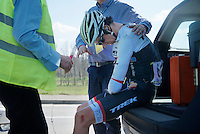A very unfortunate Jesse Sergent (NZL/Trek Factory Racing) was run over by the neutral support car while in the leading breakaway. He was brought to hospital straight afterward.<br /> <br /> 99th Ronde van Vlaanderen 2015