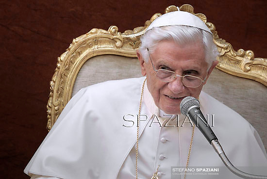Pope Benedict XVI during his weekly general audience in the courtyard of his summer residence of Castelgandolfo, 40 kms south-east of Rome,   on August 22, 2012.