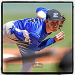 Maret Drye (3) of the Eastside High School Eagles delivers a pitch in a game against the Wren High School Hurricanes on Saturday, March 20, 2021, at Fluor Field at the West End in Greenville, South Carolina. Eastside won, 6-5. (Tom Priddy/Four Seam Images)