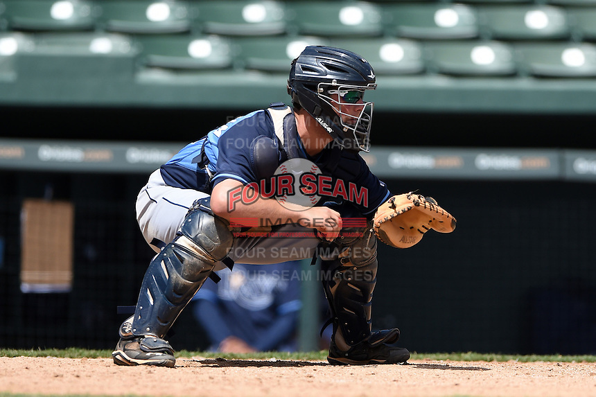 Tampa Bay Rays catcher Maxx Tissenbaum during an Instructional League game against the Baltimore Orioles on September 15, 2014 at Ed Smith Stadium in Sarasota, Florida.  (Mike Janes/Four Seam Images)