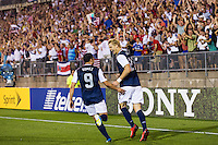 United States midfielder Brek Shea (23) celebrates scoring with midfielder Herculez Gomez (9). The United States defeated Costa Rica 1-0 during a CONCACAF Gold Cup group B match at Rentschler Field in East Hartford, CT, on July 16, 2013.
