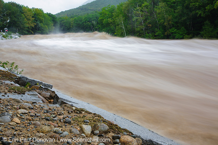 On August 27, 2011, the White Mountain National Forest was officially closed at 6:00PM because of Tropical Storm Irene. This image shows how the East Branch of the Pemigewasset River in Lincoln, New Hampshire looked on August 28, 2011. This tropical storm caused destruction along the East Coast of the United States and the White Mountain National Forest of New Hampshire was officially closed during the storm.