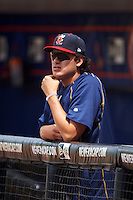 Brevard County Manatees pitcher Cody Ponce (37) in the dugout during a game against the St. Lucie Mets on April 17, 2016 at Tradition Field in Port St. Lucie, Florida.  Brevard County defeated St. Lucie 13-0.  (Mike Janes/Four Seam Images)