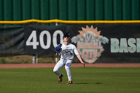 Outfielder Cole Lowe (6) gets under a fly ball during the Perfect Game National Underclass East Showcase on January 23, 2021 at Baseball City in St. Petersburg, Florida.  (Mike Janes/Four Seam Images)