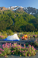 Tent camping near the Resurrection River with Mt. Benson in background.  Chugach National Forest and Kenai Fjords National Park boundry, near Seward, Alaska.  MR