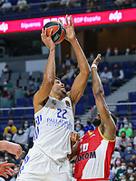 13th October 2021; Wizink Center; Madrid, Spain; Turkish Airlines Euroleague Basketball; game 3; Real Madrid versus AS Monaco; Walter Tavares (Real Madrid Baloncesto) breaks holds off the defense of Will Thomas (AS Monaco)