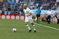 SAINT PAUL, MN - JUNE 23: Diego Fagundez #14 of Austin FC passes the ball during a game between Austin FC and Minnesota United FC at Allianz Field on June 23, 2021 in Saint Paul, Minnesota.