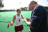 6 November 2007: Stanford Cardinal Xanthe Travlos (9) and Palo Alto Weekly reporter Rick Eymer during Stanford's 1-0 win against the Lock Haven Lady Eagles in an NCAA play-in game to advance to the NCAA tournament at the Varsity Field Hockey Turf in Stanford, CA.