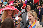 Shannon Tweed, wiffe of Gene Simmons, shows off winning ticket on Oxbow,  and Gary Stevens win 138th  running of the Grade I Preakness Stakes for 3-year olds, going 1 3/16 mile, at Pimlico Race Course.  Trainer D. Wayne Lukas.  Owners Calumet Farms