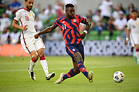 AUSTIN, TX - JULY 29: Daryl Dike #11 of the United States during a game between Qatar and USMNT at Q2 Stadium on July 29, 2021 in Austin, Texas.