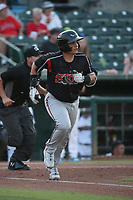 Gilberto Vizcarra (24) of the Lake Elsinore Storm runs to first base during a game against the Inland Empire 66ers at San Manuel Stadium on June 15, 2021 in San Bernardino, California. (Larry Goren/Four Seam Images)