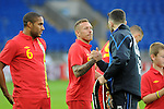 14th August 2013 - Cardiff - UK : Wales v Republic of Ireland - Vauxhall International Friendly at Cardiff City Stadium : Craig Bellamy of Wales. Craig Bellamy of Wales shakes hands with WBO world light-heavyweight champion Nathan Cleverly