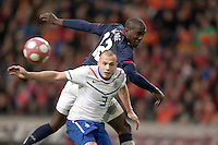 Jozy Altidore heads the ball towards goal. .The USA men fell to the Netherlands 2-1 at Amsterdam ArenA, Wednesday, March 3, 2010.