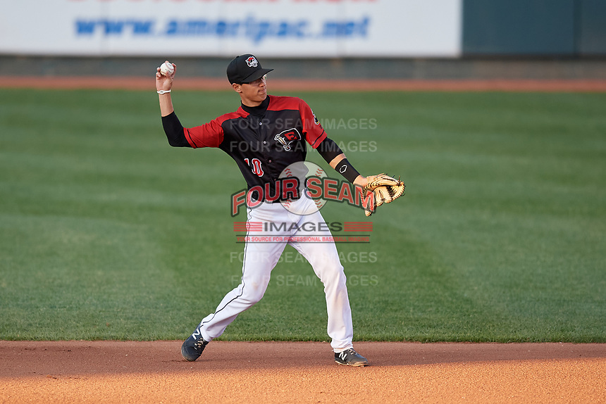 Erie SeaWolves second baseman Cole Peterson (10) throws to first base during an Eastern League game against the Altoona Curve on June 3, 2019 at UPMC Park in Erie, Pennsylvania.  Altoona defeated Erie 9-8.  (Mike Janes/Four Seam Images)