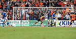 St Johnstone v Dundee United…22.08.21  McDiarmid Park    SPFL<br />Peter Pawlett celebrates after putting united 1-0 up<br />Picture by Graeme Hart.<br />Copyright Perthshire Picture Agency<br />Tel: 01738 623350  Mobile: 07990 594431