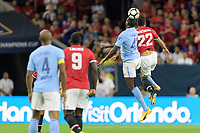 Houston, TX - Thursday July 20, 2017: Yaya Touré and Henrikh Mkhitaryan during a match between Manchester United and Manchester City in the 2017 International Champions Cup at NRG Stadium.